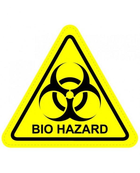 symbole biohazard: six pointes agressives s'entrêmêlent sur un panneau triangulaire