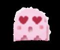 petit fantome en pixel art avec des joues roses et des yeux en cœur. clairement une femelle. désolée pour le cliché de romance girly