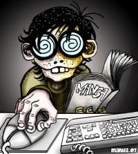 le cliché du geek, d'horrible culs de bouteilles en guise de lunettes, des dents de lapin, des boutons sur la face, un manga à la main et l'autre sur la souris