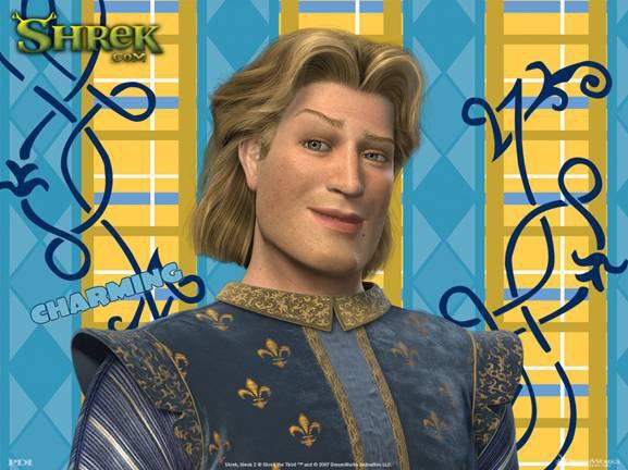 un faux prince beau gosse fait un clin d'œil, merci à shrek de péter les clichés